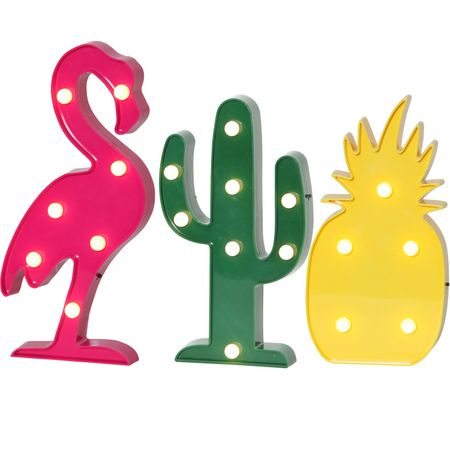 Funny LED Party Lamp Flamingo Pineapple Cactus (Set of 3) Indoor Battery – image 1