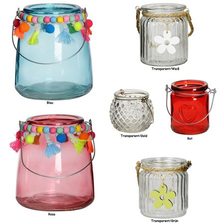 Lantern Various Tealight Holders made of Glass for Hanging Selection – image 1