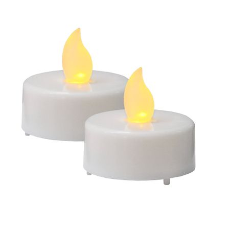 LED battery plastic tealight flickering white incl. Batteries (2 pieces) – image 1