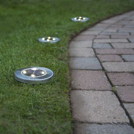 LED Solar Marker Light for Sticking with Metal Frame Silver (3 Pieces) Outdoor – image 5