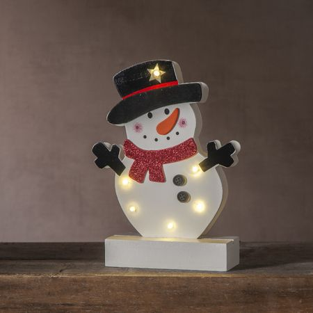 LED battery chandelier wood for kids Santa Claus or snowman – image 4