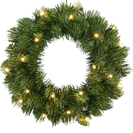 LED Battery Door Wreath Fir Tree 20 Lights Timer and Twilight Sensor Outdoor – image 1