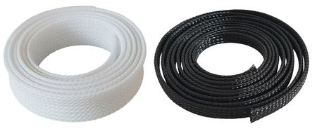 1m Braided Expandable Sleeving 2-3 mms black or white – image 1