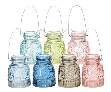 Glass Vase for Hanging or Standing Beautiful Pattern Various Colours – image 1
