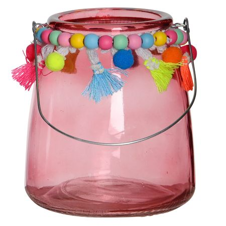Glass Tealight Holders Blue and Pink with Handle and Coloured Pompoms ca. 11 x 13 cm Lantern – image 2