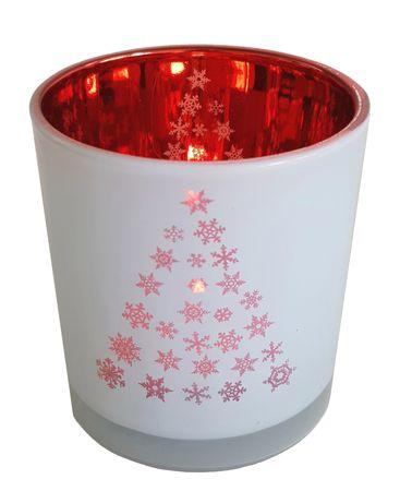 Teelichthalter aus Glas Rot-Weiß ca. 7 x 8 cm Verschiedene Motive Windlicht – Bild 2