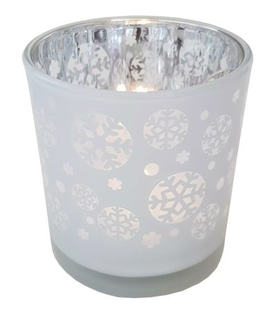 Tea Light Holder Glass Lantern Autumn/Winter – image 2