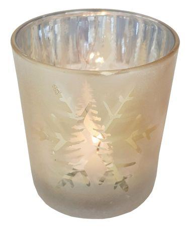 Teelichthalter aus Glas Gold ca. 7 x 8 cm Thema Herbst/Winter – Bild 4