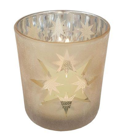 Teelichthalter aus Glas Gold ca. 7 x 8 cm Thema Herbst/Winter – Bild 5