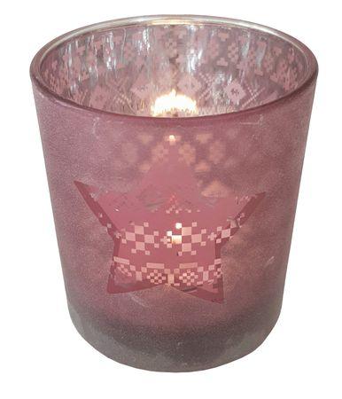 Teelichthalter aus Glas Rot ca. 7 x 8 cm verschiedene Motive Windlicht – Bild 7