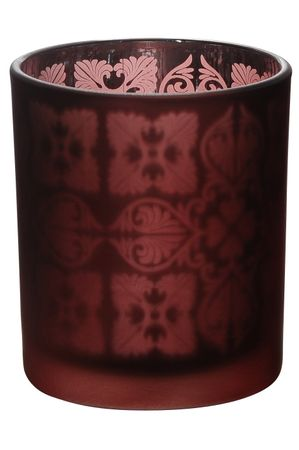Tea Light Holder Glass with Ornaments Red or Green ca. 7 x 8 cm Choice – image 4