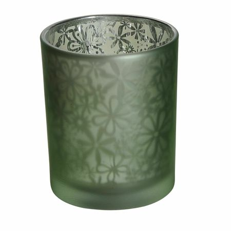 Tea Light Holder Glass with Ornaments Red or Green ca. 7 x 8 cm Choice – image 7