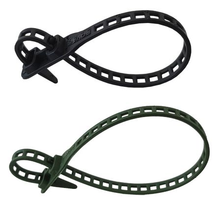 10 x Soft Flexible Plant Tie Cable Tie 7x260mms black and green – image 1