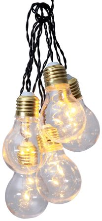 5 Light Bulbs with 2 LED Each Warm-White Chain of Lights Glow 1m, Battery, with Timer, Indoor – image 4