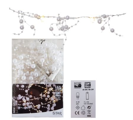 20 LED Pearl Chain of Lights Dew Drop warm white ca. 1,90m, Battery, with Timer – image 1