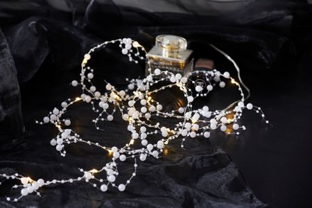 20 LED Pearl Chain of Lights Dew Drop warm white ca. 1,90m, Battery, with Timer – image 3