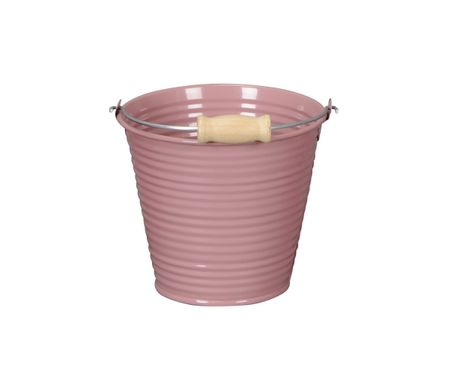 Deko Metal Bucket 11,5 x 10,5 cm Reeded with Handhold and wooden Handle in various colours – image 4