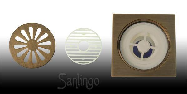Bodenablauf Abfluss 10 x 10 cm Antik Messing Dusche Bad Keller Geruchsverschluss  Garage Sanlingo – Bild 5