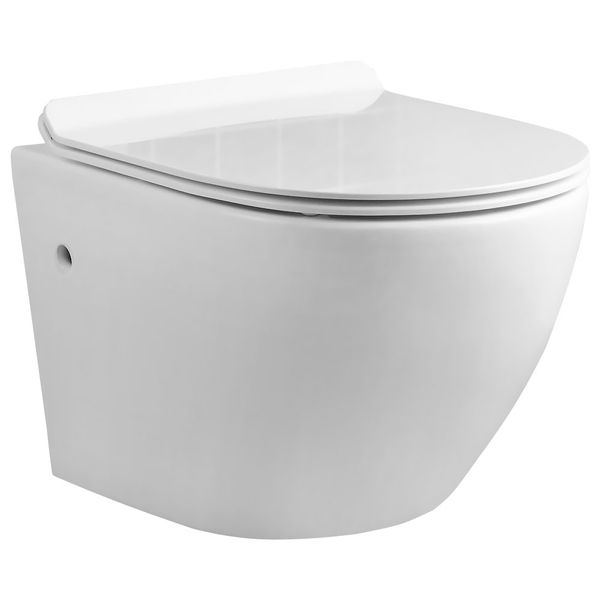 Wall Hung Mounted Toilet Pan without Rim with Soft Close Seat Toilet Lid Bathroom Sanlingo WC – Bild 1