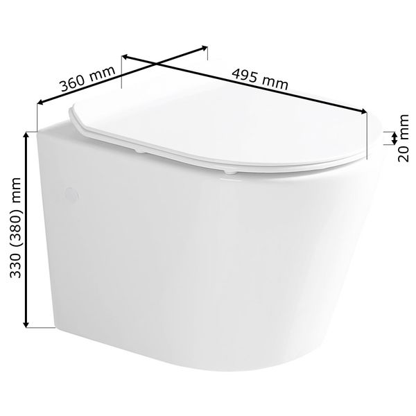 Wall Hung Mounted Toilet Pan without Rim with Soft Close Seat Toilet Lid Bathroom WC Sanlingo – Bild 2