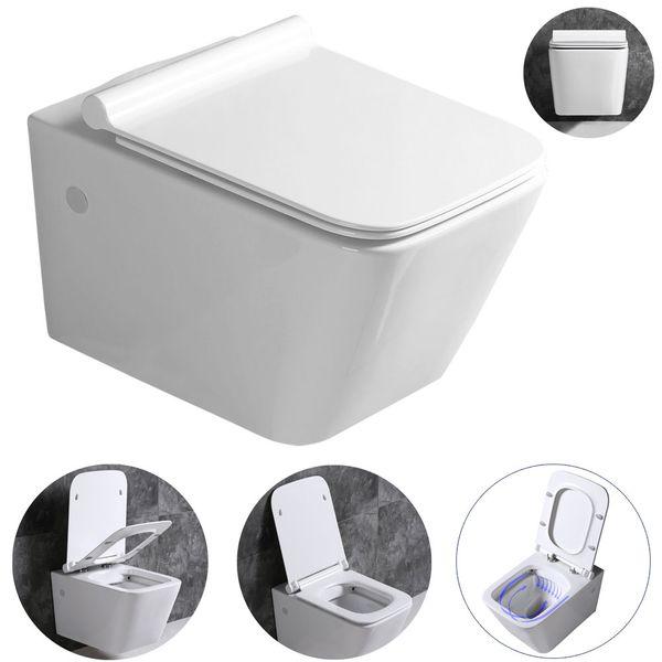 Sanlingo Keramik Wand Hänge WC Toilette Spülrandlos Softclose Weiß Tiefspüler WC Sitz Eckig