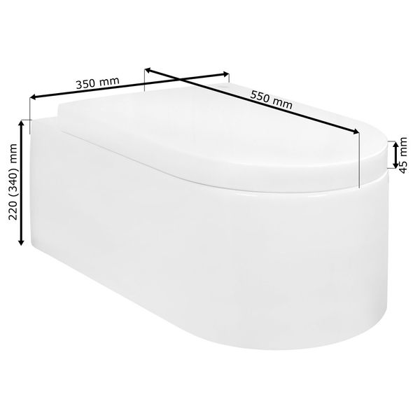 Wall Hung Mounted Toilet Pan with Soft Close Seat Toilet Lid Bathroom WC Sanlingo – Bild 2