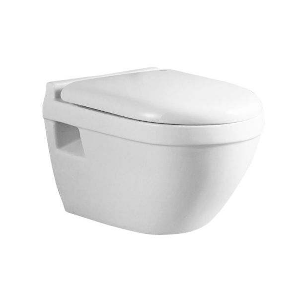 Wall Hung Mounted Toilet Pan with Soft Close Seat Toilet Lid Bathroom WC Round Sanlingo – Bild 1