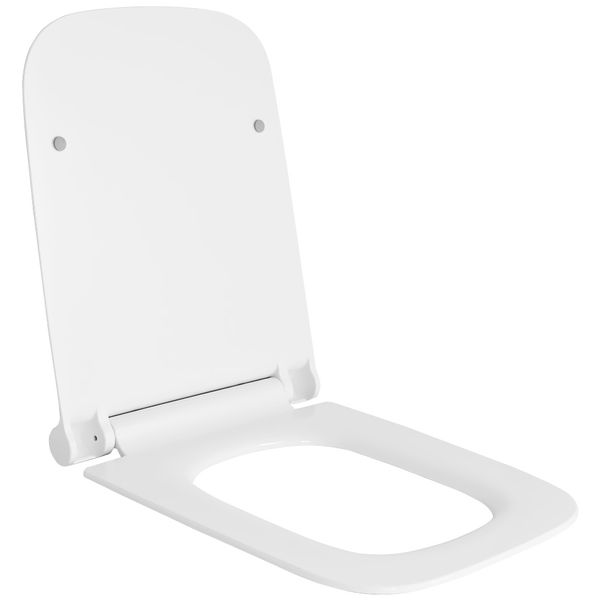 Wall Hung Mounted Toilet Pan without Rim with Soft Close Seat Toilet Lid Bathroom WC Rectangular Sanlingo – Bild 1