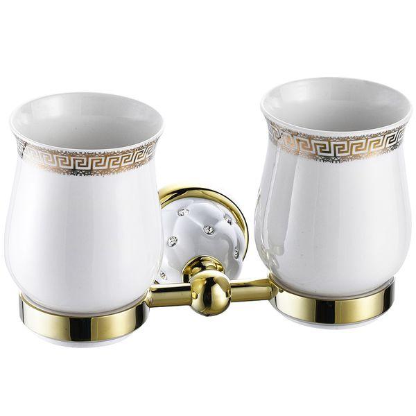 2 Zahnputzbecher Zahnbürstenhalter Aufbewahrung Doppelt Zweifach Weiß Gold Sanlingo