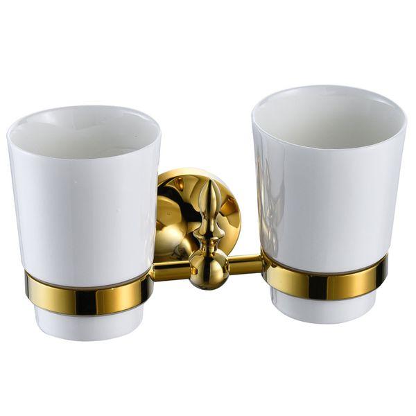 2 Toothbrush Mugs Tumbler Double Toothbrush Holder Bath Accessories White Gold Sanlingo – Bild 2
