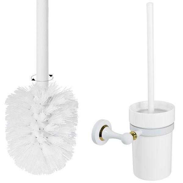 Retro Luxury Toilet Brush WC Lavatory Bathroom White Gold Design Sanlingo – Bild 2