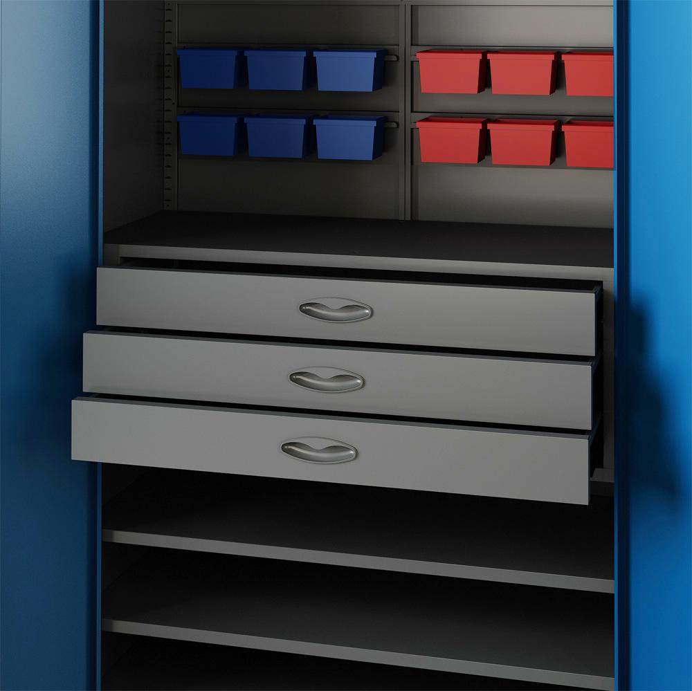 Armoire d'atelier Outil Metallique Meuble de Rangement 2 Portes V2Aox   eBay