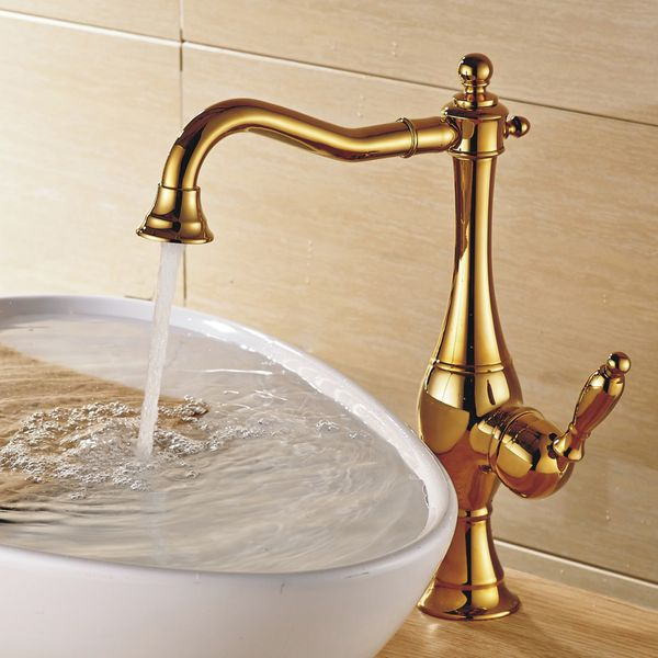 Nostalgia Retro Single Lever Basin Wash Bowl Tap Gold Rotatable Sanlingo – Bild 1
