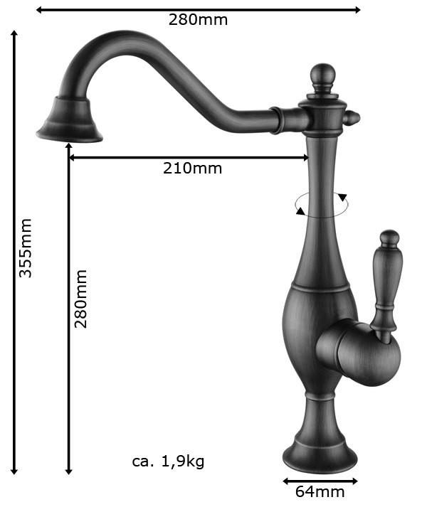 Sanlingo Nostalgia Retro Single Lever Kitchen Water Tap Rotating Antique Brass – Bild 2