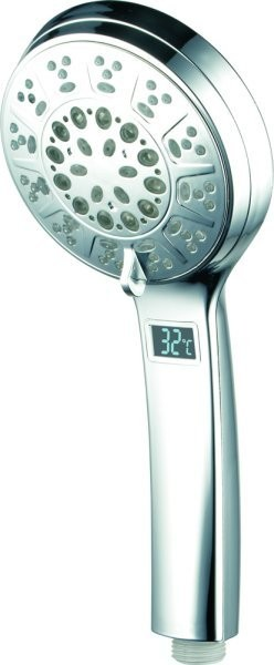LED Shower Head 3 colors color change 5x Adjustable Functions Chrome – Bild 1