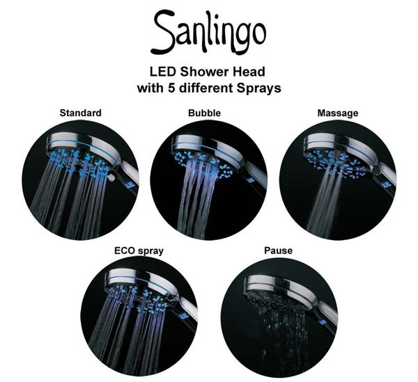 LED Shower Head 3 colors color change 5x Adjustable Functions Chrome – Bild 3
