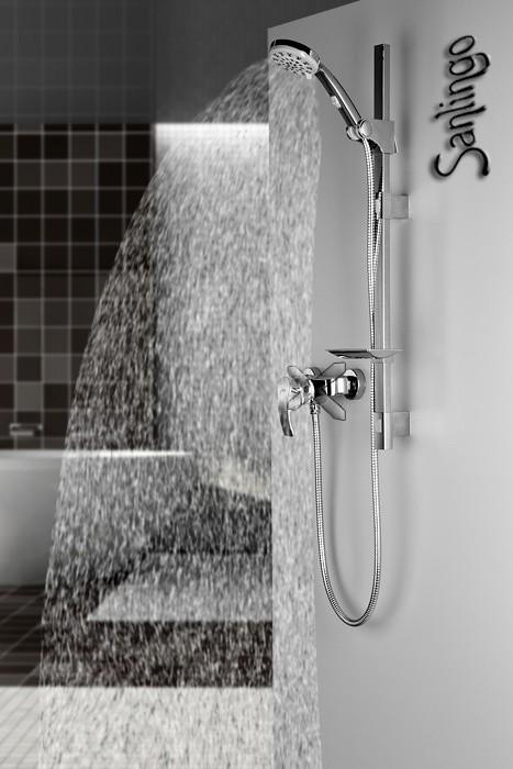 Dusch Set Brausegarnitur Duschstange mit variablen Bohrungen und Handbrause mit 5 Funktionen