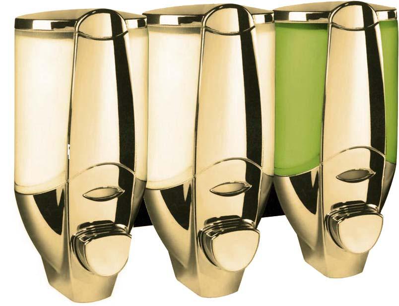 dreifach wand seifenspender shampoo spender gold ebay. Black Bedroom Furniture Sets. Home Design Ideas