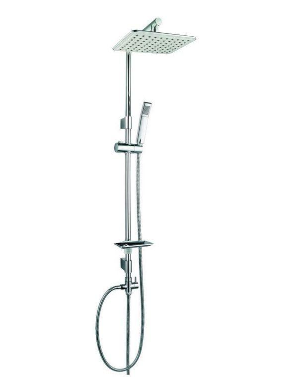 Design Duschset Dusche Duschstange Handbrause Regenbrause Kopfbrause Chrom – Bild 1