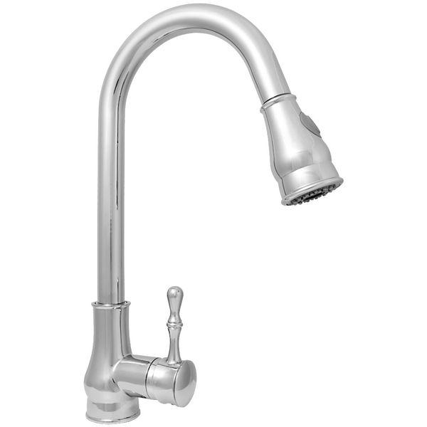 Design Kitchen Sink Single Lever Mixer Tap Faucet Pullout 2-Water-Jet Chrome – Bild 1