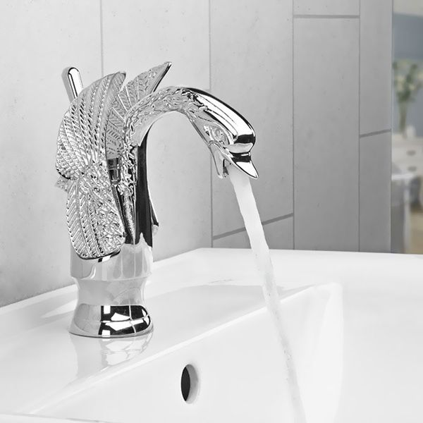 Romantic Traditional Single Lever Washbasin Swan Bathroom Tap Chrome Retro – Bild 1