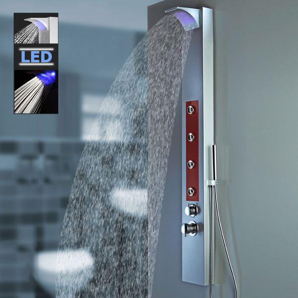 LED Aluminium Duschpaneel Silber Rot Wasserfall Massagedüsen Sanlingo