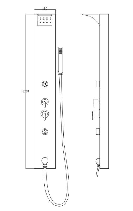 Shower Column Panel Aluminium LED Rain Waterfall Hand Shower Massage Black Sanlingo – Bild 3