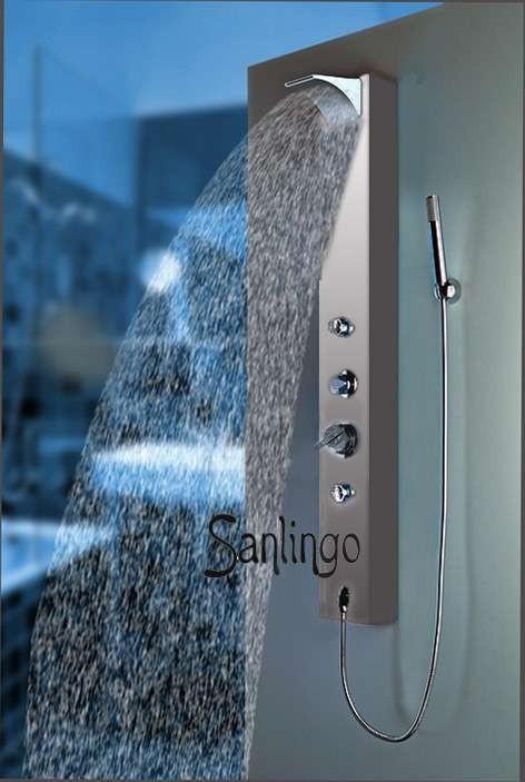 Silbernes Sanlingo Alu Duschpaneel Duschsäule mit Wasserfall, Regendusche und Massagedüsen – Bild 1