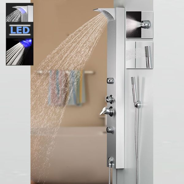 Aluminium Shower Panel LED Head Rain Shower Waterfall Hand Shower Massage Silver Sanlingo  – Bild 1