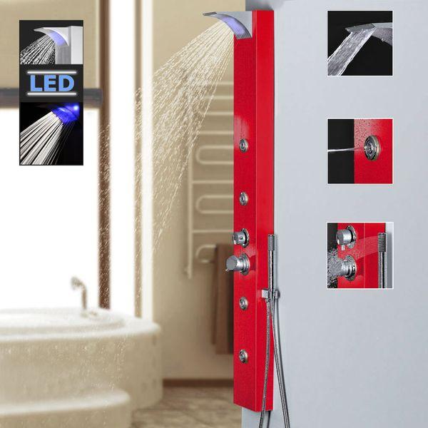Rotes Alu LED Duschpaneel Duschsäule mit Wasserfall und Massagedüsen Rot Sanlingo
