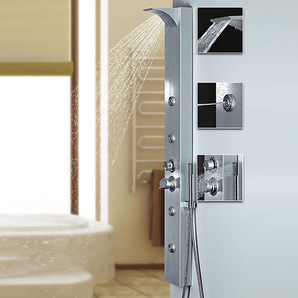 Silver Aluminium Shower Panel with Waterfall Rainshower Massage Sanlingo – Bild 1