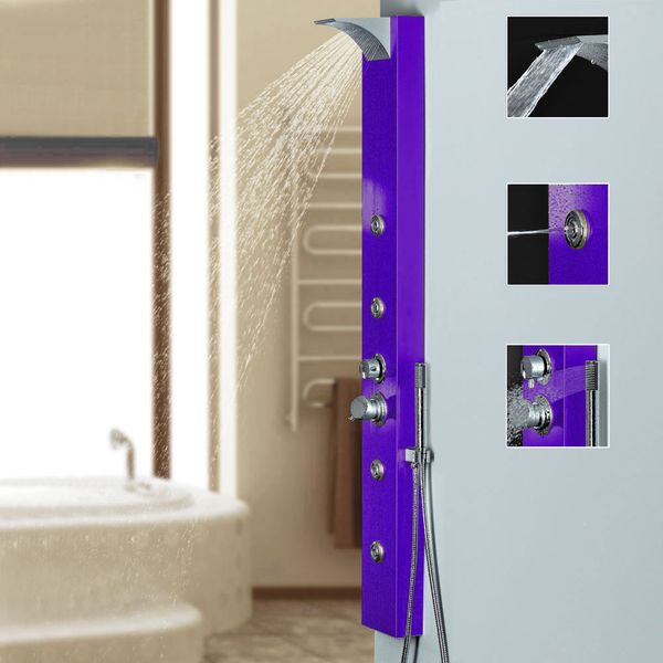 Purple Aluminium Shower Panel with Waterfall Rainshower Massage Sanlingo – Bild 1