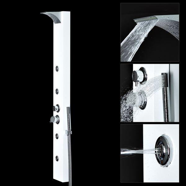 White  Aluminium Shower Panel with Waterfall Rainshower Massage Sanlingo – Bild 2