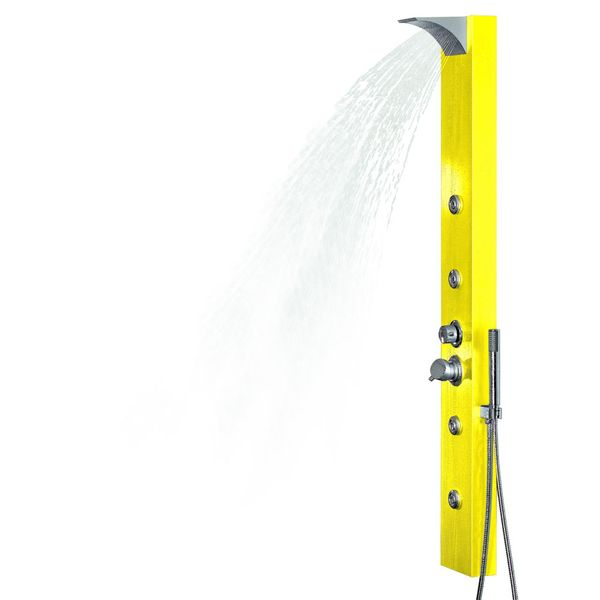 Yellow Aluminium Shower Panel with Waterfall Rainshower Massage Sanlingo – Bild 2
